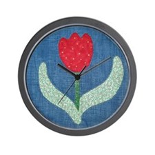 Trudy's Red Tulip Wall Clock