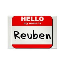 Hello my name is Reuben Rectangle Magnet