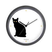 Kitty Kind Black Cat Silhouette Wall Clock