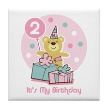 Teddy Bear Birthday 2nd Tile Coaster