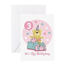 Teddy Bear Birthday 3rd Greeting Card