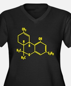 THC Molecule - Yellow Women's Plus Size V-Neck Dar