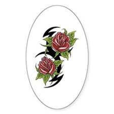 Rose Tattoo Oval Decal