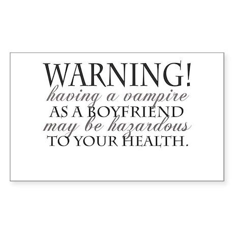 Warning! Black Rectangle Sticker