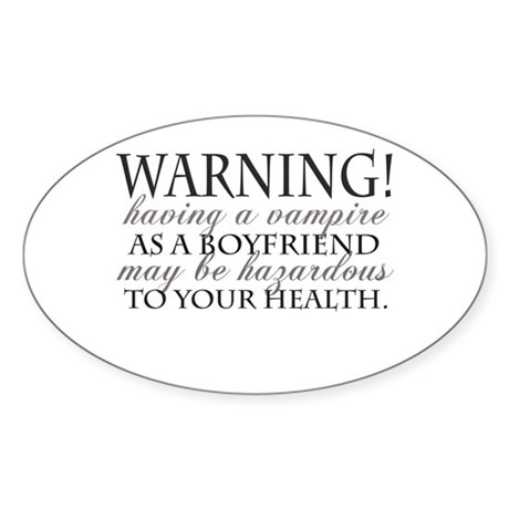 Warning! Black Oval Sticker