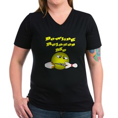 Angry Smiley Face Bowler Women's V-Neck Dark T-Shi