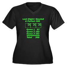 Perfect Bowling Score Women's Plus Size V-Neck Dar