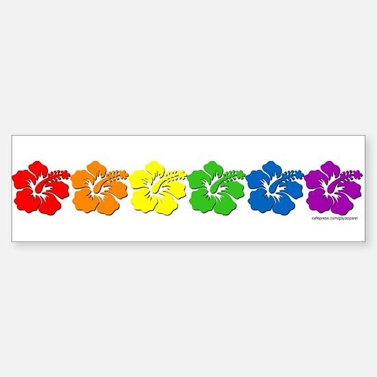 Hawaii Pride Rainbow Bumper Car Car Sticker