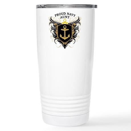 Proud Navy Aunt Stainless Steel Travel Mug