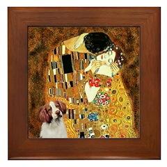 Kiss/Brittany Spaniel Framed Tile
