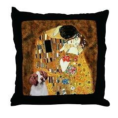 Kiss/Brittany Spaniel Throw Pillow