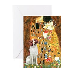 Kiss/Brittany Spaniel Greeting Cards (Pk of 20)