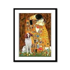 Kiss/Brittany Spaniel Framed Panel Print
