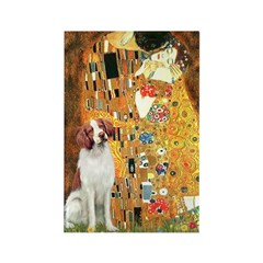 Kiss/Brittany Spaniel Rectangle Magnet