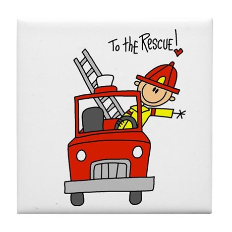 Firefighter Rescue Tile Coaster