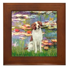 Lilies 2/Brittany Spaniel Framed Tile