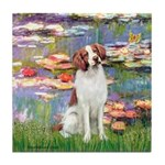 Lilies 2/Brittany Spaniel Tile Coaster