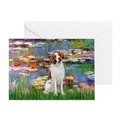 Lilies 2/Brittany Spaniel Greeting Card