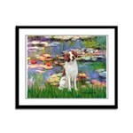 Lilies 2/Brittany Spaniel Framed Panel Print