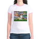Lilies 2/Brittany Spaniel Jr. Ringer T-Shirt