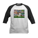 Lilies 2/Brittany Spaniel Kids Baseball Jersey