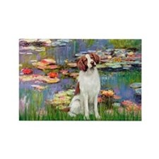 Lilies 2/Brittany Spaniel Rectangle Magnet