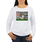 Lilies 2/Brittany Spaniel Women's Long Sleeve T-Sh