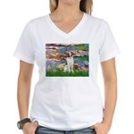 Lilies 2/Brittany Spaniel Women's V-Neck T-Shirt