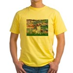 Lilies 2/Brittany Spaniel Yellow T-Shirt