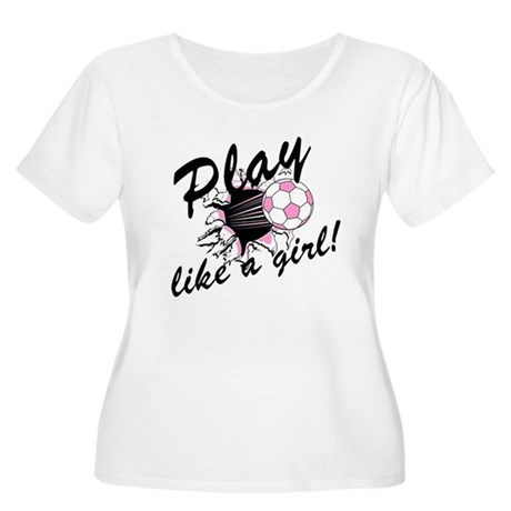 Play like a girl Women's Plus Size Scoop Neck T-Sh