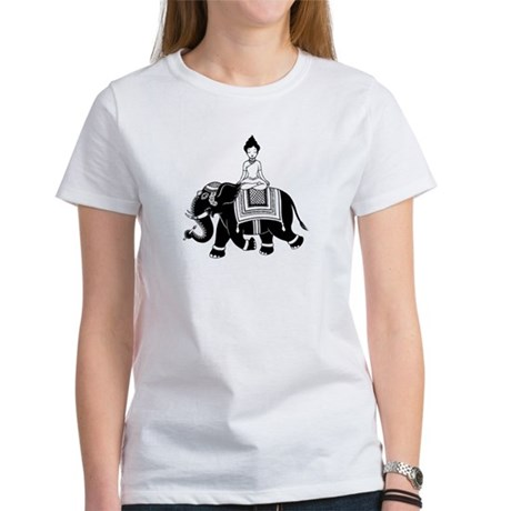 Women's T-Shirt with Woman Riding Elephant