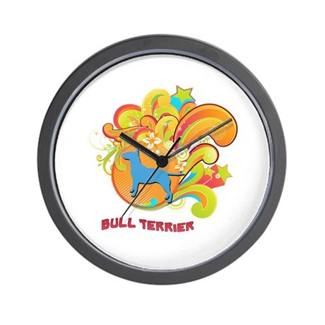Groovy Bull Terrier Wall Clock
