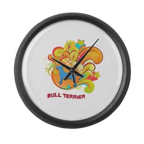 Groovy Bull Terrier Large Wall Clock