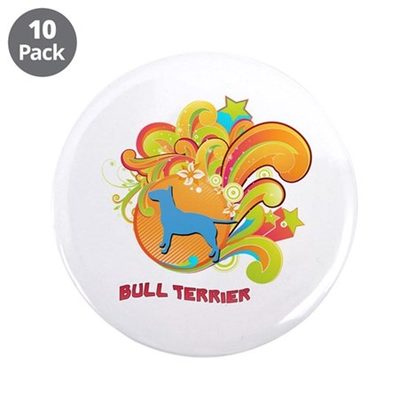 "Groovy Bull Terrier 3.5"" Button (10 pack)"