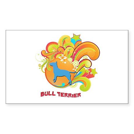 Groovy Bull Terrier Rectangle Sticker