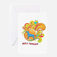 Groovy Bull Terrier Greeting Card