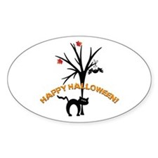 Black Cat Silhouette Oval Decal