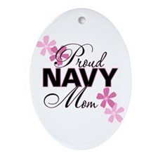 Proud Navy Mom Oval Ornament