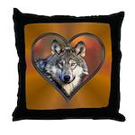 Wolf Heart Throw Pillow