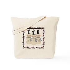 Country Christmas Snowmen Tote Bag