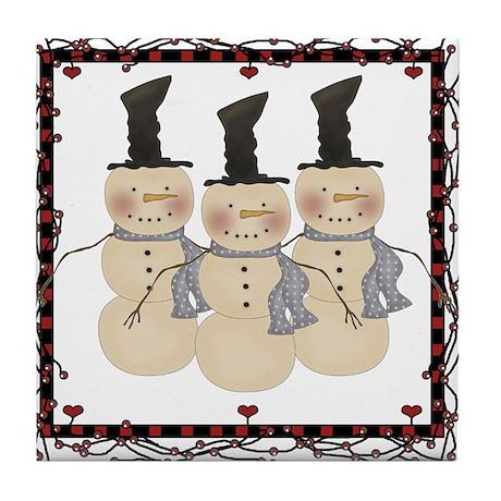 Country Christmas Snowmen Tile Coaster