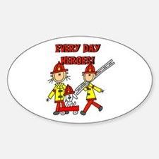 Firefighter Heroes Oval Decal