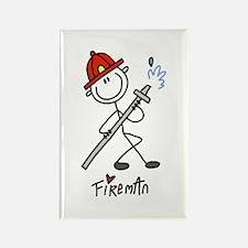 Basic Stick Figure Fireman Rectangle Magnet