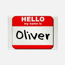Hello my name is Oliver Rectangle Magnet