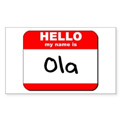 Hello my name is Ola Rectangle Decal