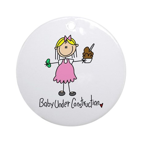 Baby Under Construction Ornament (Round)