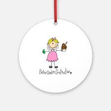 Baby Under Construction Ornament (Round)