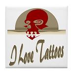 I Love Tattoos Tile Coaster