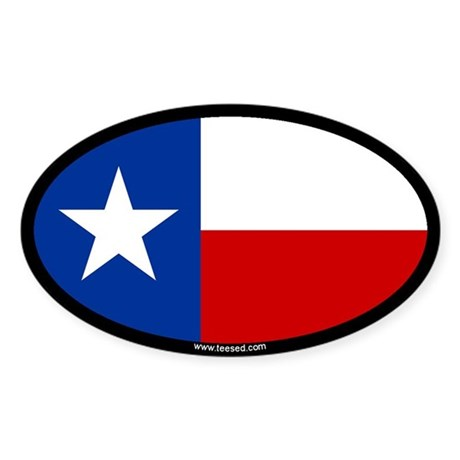 Texas Flag Oval Sticker