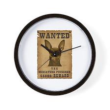 """""""Wanted"""" Miniature Pinscher Wall Clock"""